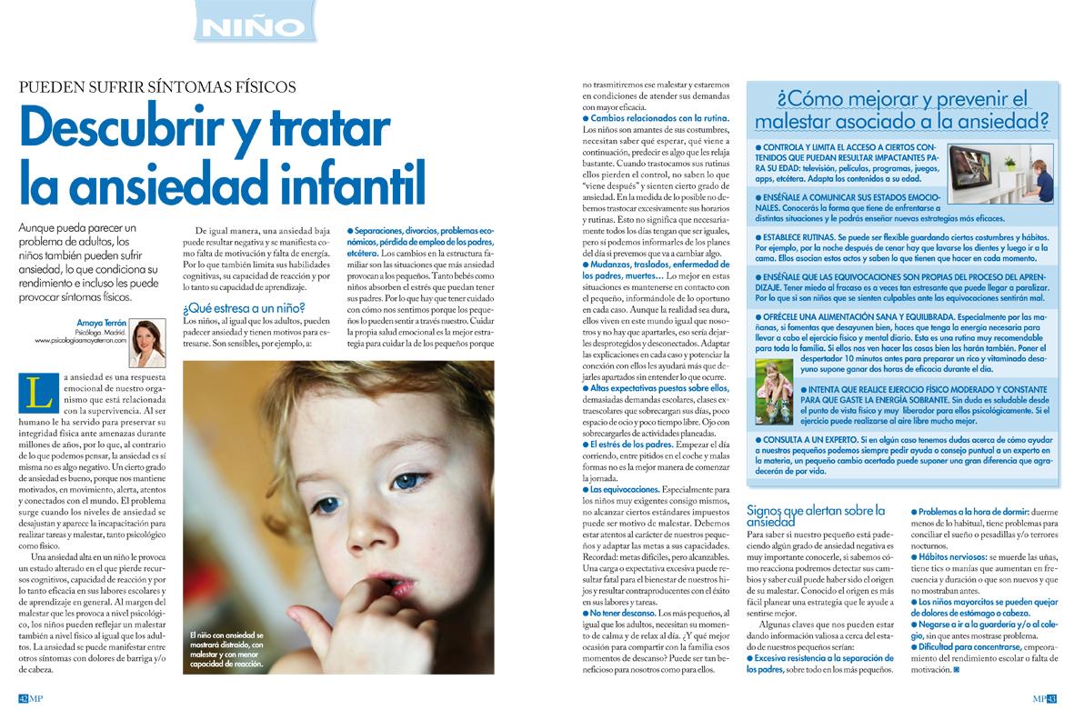 Detectar la ansiedad infantil. Revista Mi Pediatra nº 88